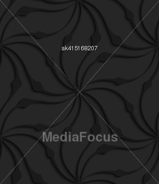 Black 3D Seamless Background. Dark Pattern With Realistic Shadow.Black 3d Abstract Wavy Floral Shape Stock Photo