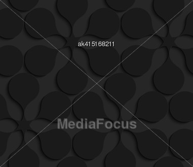 Black 3D Seamless Background. Dark Pattern With Realistic Shadow.Black 3d Geometric Abstract Flowers Stock Photo