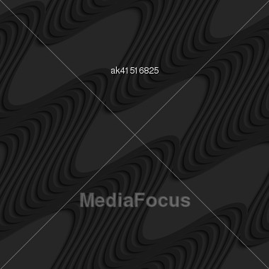 Black 3D Seamless Background. Dark Pattern With Realistic Shadow.Black 3d Diagonal Waves Stock Photo