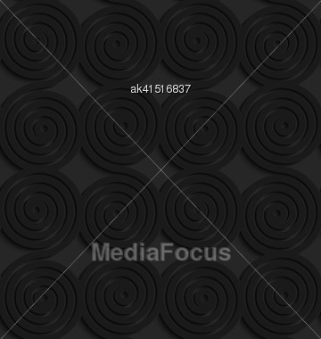 Black 3D Seamless Background. Dark Pattern With Realistic Shadow.Black 3d Connecting Spirals Stock Photo