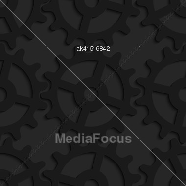Black 3D Seamless Background. Dark Pattern With Realistic Shadow.Black 3d Complex Gears Stock Photo
