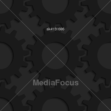 Black 3D Seamless Background. Dark Pattern With Realistic Shadow.Black 3d Gears Stock Photo