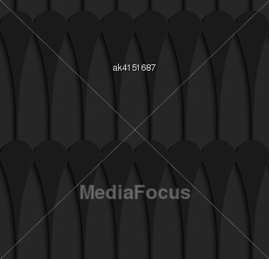 Black 3D Seamless Background. Dark Pattern With Realistic Shadow.Black 3d Horizontal Juggling Clubs In A Row Stock Photo