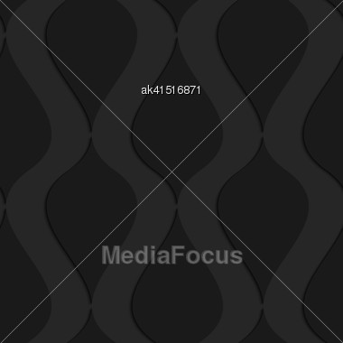 Black 3D Seamless Background. Dark Pattern With Realistic Shadow.Black 3d Wavy Vertical Connected Drops Stock Photo