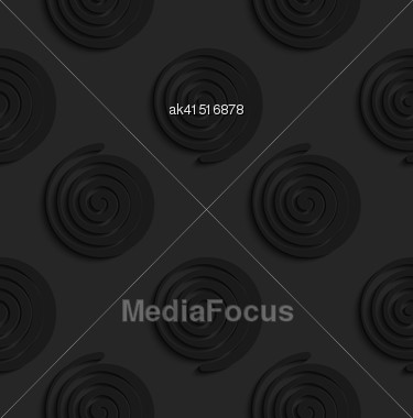 Black 3D Seamless Background. Dark Pattern With Realistic Shadow.Black 3d Spirals Stock Photo