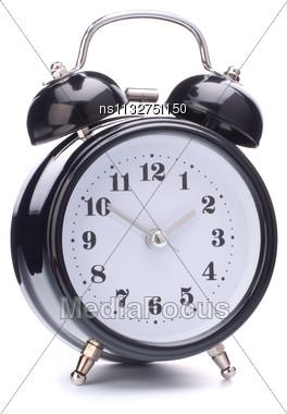 Black Alarm Clock Isolated On White Background Stock Photo