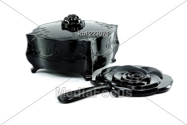 Black Antique Old Box Close With Black Mirror Shape Of Rose Stock Photo