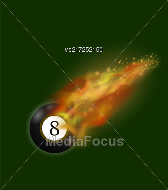 Black Billiard Ball On Fire Flame Isolated On Green Background Stock Photo
