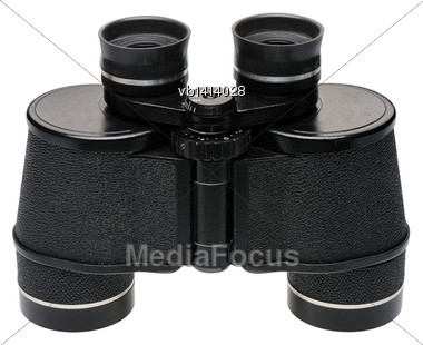 Black Binoculars, Side View, Isolated On White Background Stock Photo