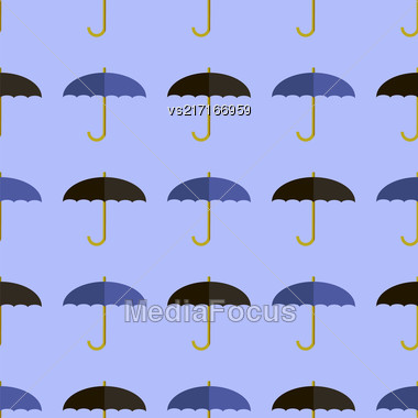 Black Blue Umbrella Seamless Pattern. Umbrellas Background Stock Photo