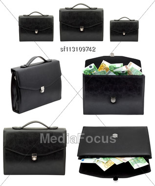 Black Briefcase With Money On A White Background Stock Photo