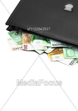 Black Briefcase With Money Stock Photo