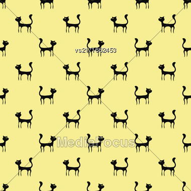 Black Cats Seamless Pattern. Animal Pets Silhouettes Background Stock Photo