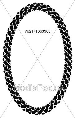Black Chain Oval Frame Isolated On White Background Stock Photo