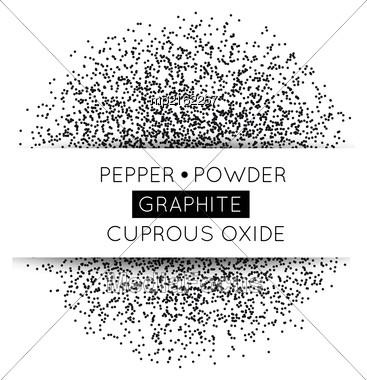 Black Circle Made Of Black Dots. Vector Illustration. Pepper, Graphite, Gunpowder On White Stock Photo