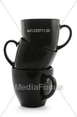 Black Coffee Cups Pyramid Isolated On White Stock Photo