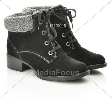 Black Female Boots Stock Photo