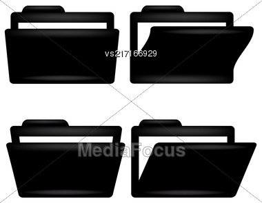 Black Folder Icon ISolated On White Background Stock Photo