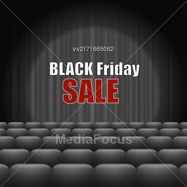 Black Friday Inscription On Dark Curtain. Cinema With Grey Curtain Stock Photo