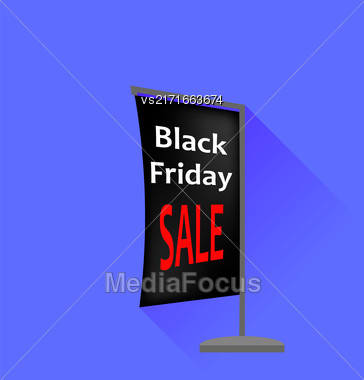 Black Friday Sale Banner Isolated On Blue Background. Flat Design. Long Shadow Stock Photo