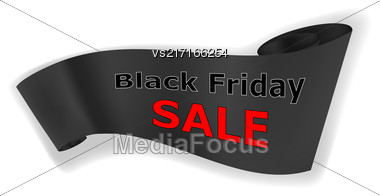 Black Friday Sale Banner Isolated On White Background. Winter Big Sale Stock Photo