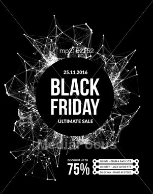 Black Friday Sale. Vector Illustration On Black Background Stock Photo