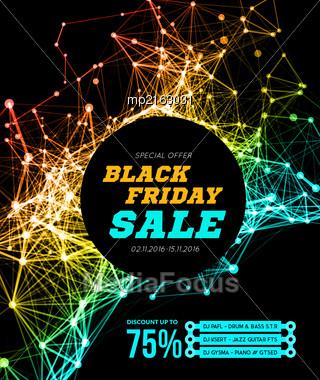 Black Friday Sale. Vector Illustration On Black Background Stock Photo