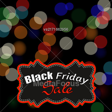 Black Friday Sticker On Blurred Lights Background Stock Photo