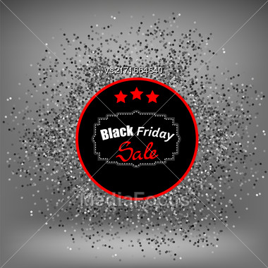 Black Friday Sticker And Confetti Isolated On Sost Grey Background Stock Photo