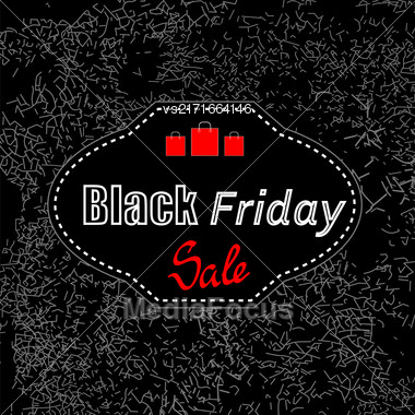 Black Friday Sticker Isolated On Dark Grunge Background. Big Winter Sale Stock Photo