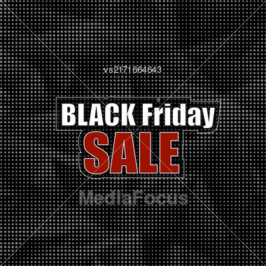 Black Friday Sticker On Dark Halftone Background. Black Dots Pattern. Dark Shopping Label. Special Marketing Promotion Stock Photo