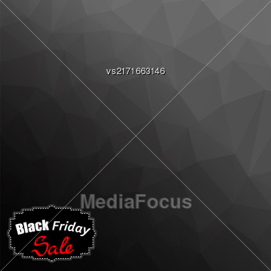 Black Friday Sticker Isolated On Dark Mosaic Background Stock Photo