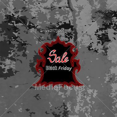 Black Friday Sticker On Grey Crunge Background Stock Photo