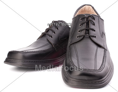 Black Glossy Man S Shoes With Shoelaces Isolated On White Background Stock Photo