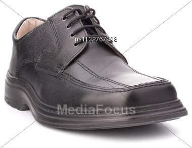 Black Glossy Man S Shoes] With Shoelaces Isolated On White Background Stock Photo