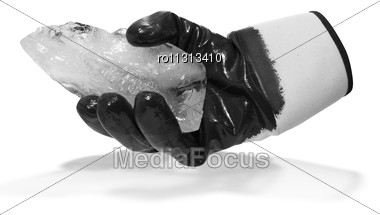 Black Glove Hold Blocks Of Ice Isolate On White Stock Photo
