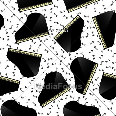 Black Grand Piano Seamless Pattern With Musical Notes Stock Photo