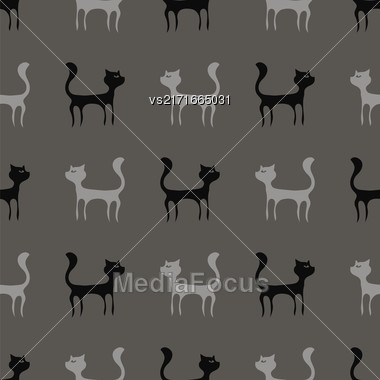 Black Grey Cats Seamless Pattern. Animal Pets Silhouettes Background Stock Photo