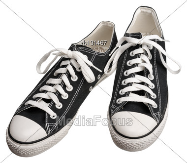 Black Gumshoes With White Soles, Isolated On A White Background Stock Photo