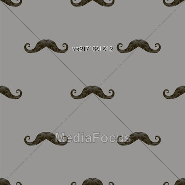Black Hairy Mustache Silhouettes Seamless Pattern On Grey Background Stock Photo