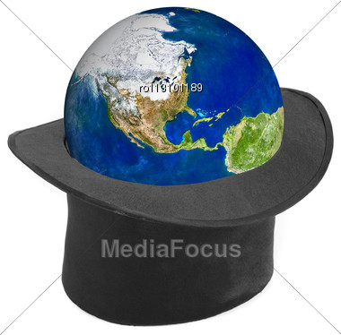 Black Hat And Earth Planet Isolated Stock Photo
