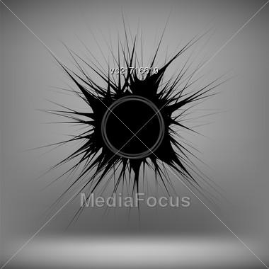 Black Ink Blot Isolated On Soft Grey Background Stock Photo