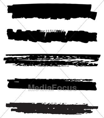 Black Ink Vector Brush Strokes. Dry Brush Hand Drawn Stroke On White Stock Photo