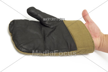 Black Leather Gloves Worn On The Hand Isolated On White Stock Photo