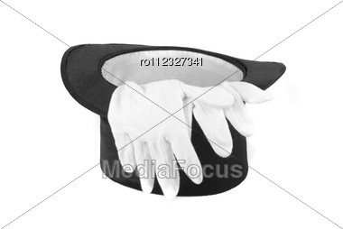 Black Magic Hat And White Gloves Isolated Stock Photo