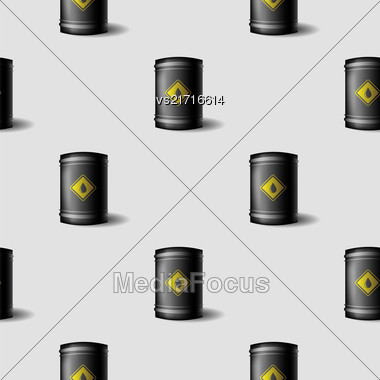Black Metal Oil Barrels Seamless Pattern On Grey Background Stock Photo