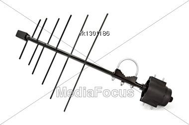 Black Metal TV Antenna Stock Photo