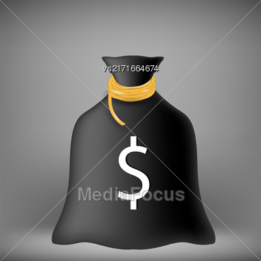 Black Money Bag On Soft Grey Background Stock Photo