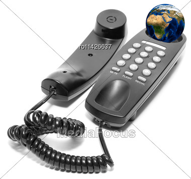 Black Office Phone Isolated On White Background Stock Photo