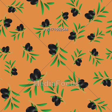 Black Olives Isolated On Orange Background. Seamless Pattern Stock Photo
